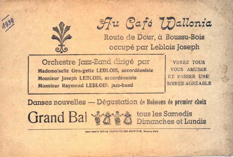 Boussu : Invitation à un grand bal en 1939