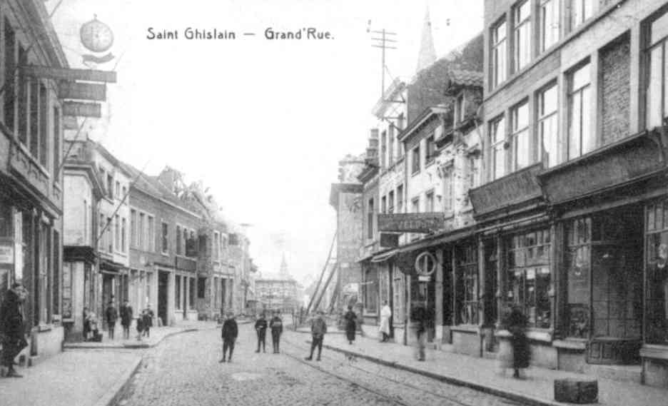 Saint-Ghislain : Grand Rue en 1920.